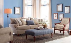 "Such a pretty Craftmaster sofa, I love all the colors! Perfect for large rooms at over 100""!"