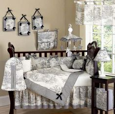 Black French Toile Baby Bedding - 9 pc Crib Set  i love this!!!! you could put some pink accents with it