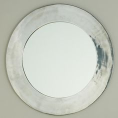 Shiny Sleek Silver Circle Mirror - Shades of Light Entry Mirror, Mirror Mirror, Silver Bathroom, Bathroom Mirrors, Real Kitchen, Round Mirrors, Circle Mirrors, White Shower, Modern Fireplace