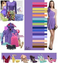 Сочетание цветов в одежде фиолетовая юбка