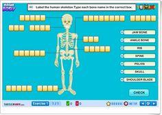 """""""Human Body"""" es un juego en inglés, de turtlediary.com, en el que, tras una exposición inicial, se localizan y nombran, en varios ejercicios, los principales huesos y órganos del cuerpo humano."""