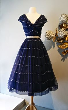 Vintage 1950s Couture Navy Silk Chiffon Cocktail Dress with Embroidery