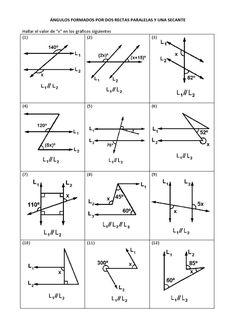 Ecuaciones en geometria. Mica   Ángulos entre paralelas   Pinterest ...
