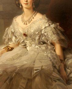 Princess Tatiana Yusupova (detail), 1858 by Franz Xavier Winterhalter. Victorian Paintings, Renaissance Paintings, Victorian Art, Renaissance Art, Aesthetic Painting, Aesthetic Art, Pretty Dresses, Beautiful Dresses, Hoop Skirt