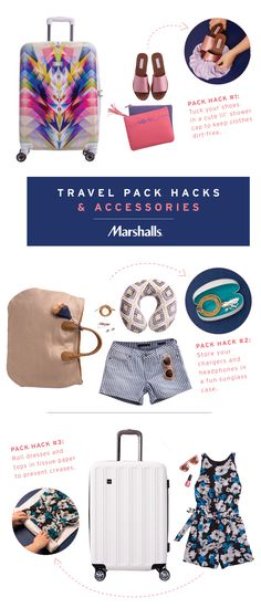 Travel pack hacks! Wherever you're headed, you'll find travel accessories that fit your style — and your budget. From bold, graphic suitcases to classic black and white, plus weekender bags and everything you need to tuck inside. Visit Marshalls to find your trendy new travel essentials, and try these packing tips!