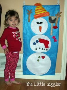 Play felt snowman kids can build again and again