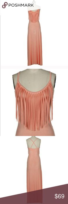 🎀HP🎀 2/26✨Peach fuzz fringe dress Gorgeous fringe dress. Great for day or night. Super chic and comfy.New without tag✨ Dresses