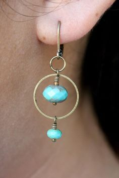 Simple Joys: Turquoise picasso glass earrings (inspiration)