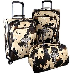 6b2e2c364b05 Montana West Cow Print with Luggage I have the purse set that matches  these. Minus the crosses