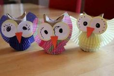 Owl Crafts...cupcake liner and toliet paper tube.