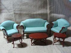 Miniature Dollhouse Living Room Furniture Sofa Chair Tables Bespaq Set Lot   eBay