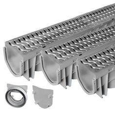 Source 1 Drainage 3-Pack Premium Trench & Driveway Channel Drain System With Galvanized Steel Grates
