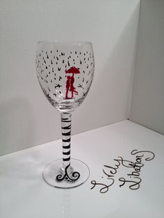 Kissing in the Rain hand painted custom wine by LivelyLibations  https://www.facebook.com/pages/Lively-Libations-Glass/243800552462322