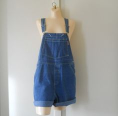 Denim Overall Shorts Denim Bib Overalls Women by TheVilleVintage, $36.49