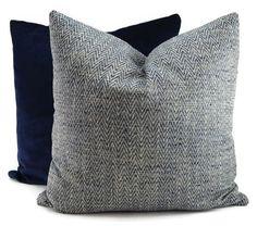 Navy, Cream, Light Blue & Gray Woven Chevron Throw Pillow Cover, 20x20