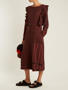 Click here to buy Cecilie Copenhagen Ruffle-detail scarf-jacquard cotton midi dress at MATCHESFASHION.COM