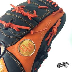 Closer look of the new sparkling orange - Now orange is the new black. Perfect for autumn, perfect for halloween.   Gloveworks is your custom baseball glove maker.