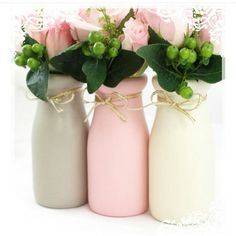 Pink Gray Painted Jars Milk Bottles Vases Centerpieces Wedding Baby Shower Nursery Mason Chalk Paint Rustic Cottage Shabby Chic Home Decor (Baby Bottle Painting) Milk Bottle Centerpiece, Vase Centerpieces, Vases Decor, Wedding Centerpieces, Centerpiece Ideas, Wedding Decorations, Diy Bottle, Bottle Art, Bottle Crafts