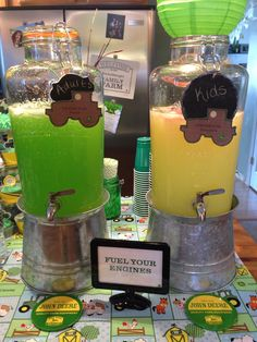 John Deere Baby Shower Lemonade w/fresh Sliced strawberries for kids & Moscato Punch (Moscato wine, 7-up & Green Hawaiian Punch)  w/sliced lime for adults