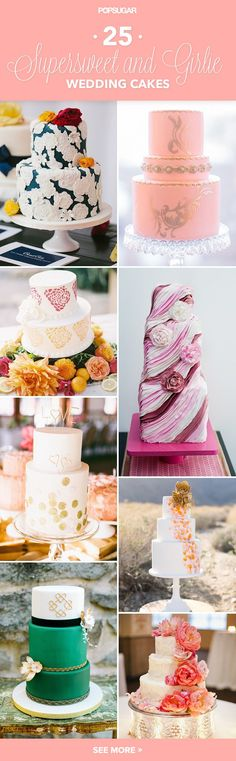 Remember the wedding you've been dreaming of since you were a little girl? The one filled with romantic details and pinks and pearls here and there? Well, here are some desserts that are just the, er, icing on the cake. These 25 feminine creations are romantic, whimsical, and dainty all at once, whether it's because of their heart designs or pastel hues. In other words: they're just downright beautiful.