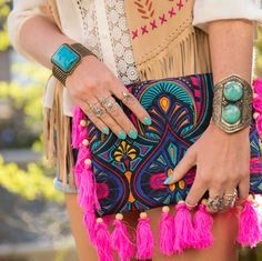 Oversized clutch, tassel bag, fringe bag, boho clutch, crossbody bag, boho bag