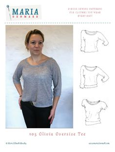 The Birgitte Basic Tee is your perfect tee! It's a true wardrobe staple, that can be varied endlessly. Make a top for gym class or create a fabulous party top. It all depends on the fabric you choose! The t-shirt has a bit of negative ease at the bust area but skims loosely over the stomach area. Perfect for women of all shapes and sizes!
