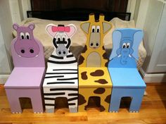 Articoli simili a iChart Kids Four Chair Set - Safari Aminal Theme - Children's Furniture su Etsy Christmas Art Projects, Projects For Kids, Diy For Kids, Wood Projects, Kids Table And Chairs, Kid Table, Cool Chairs, Dining Chairs, Animal Art Projects