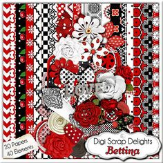 Lady Bug Red and Black Digital Scrapbooking Kit- Bettina Flowers, Chevron, Lady Bug Clip Art Fabric FLowers