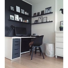 New Ideas For Home Office Ikea Alex Shelves – Office Design 2020 Ikea Home Office, Small Home Offices, Home Office Setup, Home Office Space, Home Office Design, Ikea Alex Desk, Ikea Alex Drawers, Ikea Study, Black And White Office