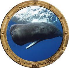 "12"" Port Scape Sea Window Sperm Whale #1 Porthole Wall Decal Graphic Art Sticker #StickitGraphix #Nautical"