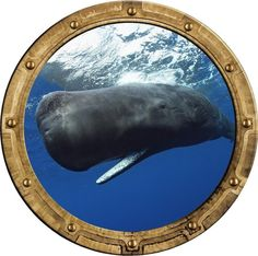 "12"" Port Scape Sea Window Sperm Whale #1 Porthole Wall Decal Graphic Art Sticker #StickitGraphix #Nautical"
