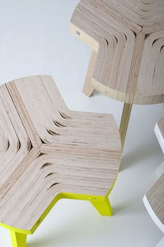 Italian designer Giorgio Biscaro will present a flat-pack stool made of bent plywood at the Salone Satellite in Milan next month. Called Offset, the seat is made of slices cut from one piece of bent plywood attached to three leg profiles by metal bars. See all our stories about Milan 2010 in our special category.