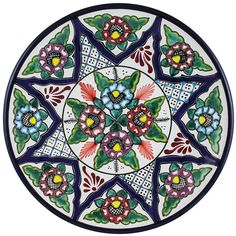 Tomas Huerta TalaveraPlate - Pattern 58 ♥️♣️♣️Talavera Mexican Pottery : More At FOSTERGINGER @ Pinterest ♣️