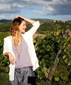 Drew Barrymore at her vineyard in Monterey County, California.