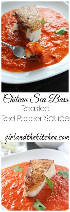 Pan Roasted Chilean Sea Bass with Roasted Red Pepper Sauce - Girl and the Kitchen