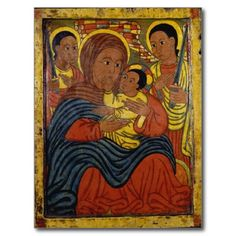 Ethiopian Black Madonna with Christ Child Post Card