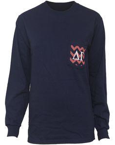 Delta Gamma Crest Chevron Long Sleeve Pocket Shirt