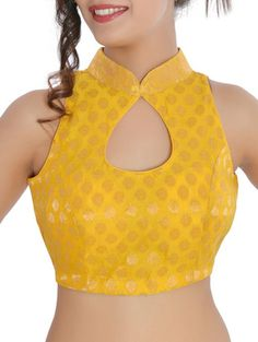 Buy Yellow Silk Woven Stitched Blouse by Inblue Fashions - Online shopping for Blouses in India Brocade Blouse Designs, Brocade Blouses, Fancy Blouse Designs, Designer Blouse Patterns, Blouse Neck Designs, Saree Blouse Patterns, Stylish Blouse Design, Creations, Lingerie