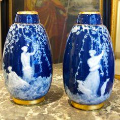 Paire De Vases Porcelaine De Limoges Bleu Four Et Doré