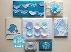 handcrafted wrapping from giochi di carta: giochi di carta #29 wrapping with baking cups ... monochromatic blues ... upcycled and found elements ... wonderful!!