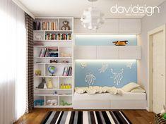 Studio de design interior in Oradea, Romania. Baby Room Design, Baby Room Decor, Bookcase, Kids Room, Shelves, Interior Design, Studio, Bedroom, Modern