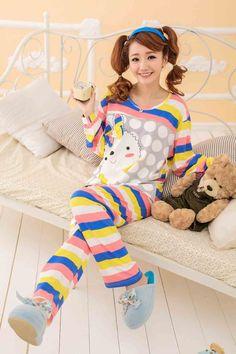 Japanese Fashion Cute Cartoon Rabbit Leisure Pajamas