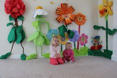 Alice in Wonderland Flower Garden Decorations - I made most of these using just tissue paper and tape!
