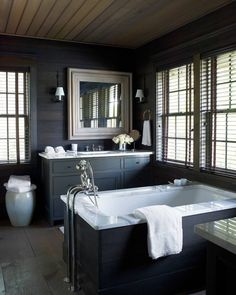 Sheathed In Dark Stained Pine With Simple Cabinetry The Master Bathroom Has Look Of A Rustic Retreat Lake Martin Alabama House Designed By Susan