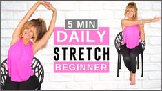 Stretching Routine For Flexibility, Daily Stretches, Stretch Routine, Body Stretches, Stretching Exercises, 14 Day Workouts, 14 Day Challenge, Chair Exercises, Senior Fitness
