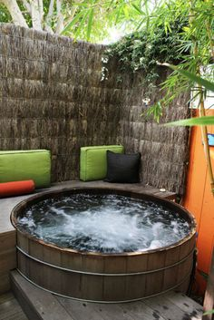 deck and patio hottub layouts | tropical patio Back deck and hot tub ideas