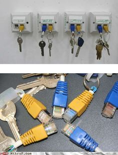 Cat5 plugs and sockets as key organizers.