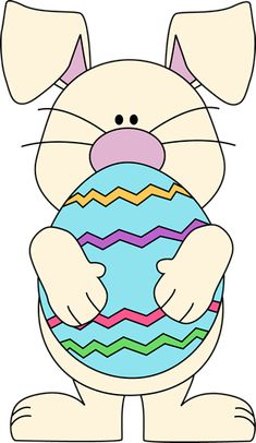 Easter bunny holding a big Easter egg. Easter clipart ideas