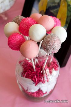 Pink & White Cake Pop Bouquet for Baby Shower