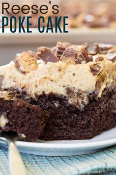 Reese's Poke Cake - the ultimate chocolate and peanut butter dessert perfect to take to a party or potluck. Start with a regular or gluten free chocolate cake mix, then add peanut butter pudding, chocolate frosting, peanut butter topping, and peanut butter cups!